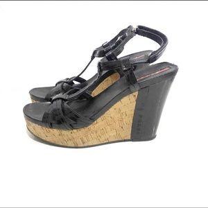 Prada 8.5 black patent leather wedge sandals